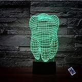 Illusione Ottica 3D Dente Luce Notturna 16 Colori Mutevoli Telecomando USB Potere Toccare Cambiare Arredamento Lampada LED Lampada da Tavolo Bambini Brithday Natale Regalo