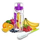 Babacom Borraccia Sportiva Palestra,Bottiglia d'Acqua di Frutta Infusore 946ml,1500ml-Borraccia Plastica per Infusore Senza BPA con Manico e Spazzola per la Pulizia, Ideali per Ufficio, Palestra