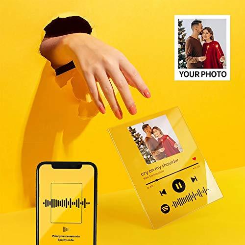 Personalisiert Spotify Code Musikkarte mit Foto Bilderrahmen Glas Acryl Gravur Lied SchreibtIsch Dekor Bild Selbst Gestalten Geschenk für Männer Frauen Freund Kinder Geburtstag Jubiläum Valentinstag