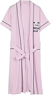 Ladies Kimono Robe, Lace-up Short-sleeved Bathrobe, Soft And Comfortable Home Casual Night Gown, S-3XL (Size : XX-Large)