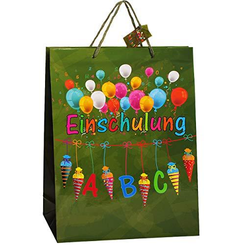 alles-meine.de GmbH 1 Stück _ Geschenkbeutel / Geschenktasche -  Einschulung / Schulanfang  _ GROß - 35 cm ! A4 - Geschenktüte / Geschenkverpackung - Verpackung - Tüte Beutel T..