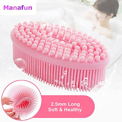 Bath Brush, Manafun Soft Silicone Body Skin Care Shampoo Massager Cleaning Back Scalp Scrubber for Baby, Kids, and Sensitive Skins
