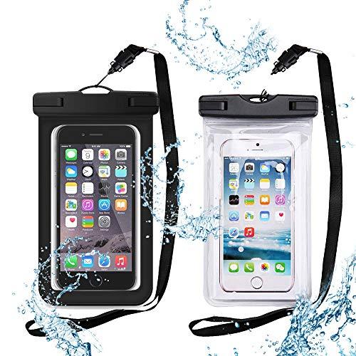 2 impermeables para teléfono celular con cordón, Transparente para teléfono celular seco bajo el agua selladas todo el cuerpo funda protectora flotante para juegos de agua (1 negro y 1 transparente)