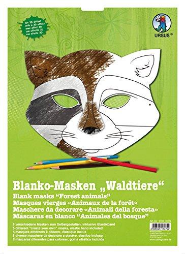 Ursus 17050099 - Masken Waldtiere, blanko, 6 Stück