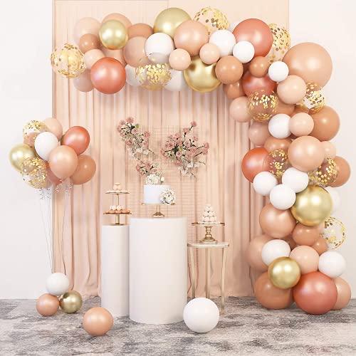 129 Stück YHmall Champagner Orangen Rosa Gold Luftballons Girlande Kit Mädchen Geburtstag Hochzeit Dekoration Blush Konfetti Ballons Pfirsich Apricot Luftballons Roségold Weiß Ballongirlande für Feier