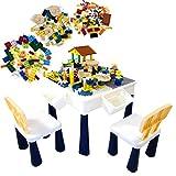 MRG ブロック テーブル 293ピース ブロック付き おもちゃ 知育 デスク 椅子 セット 塗り絵 水遊び お絵描き 収納 ブロックプレイ 多機能 子供 子供用テーブル (ブルーベージュ系)