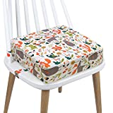 Toddler Booster Seat Dining, PU Washable 2 Straps Safety Buckle Kids Booster Seat for Dining Table, Portable Travel Increasing Cushion (Animals-White)