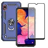 Yiakeng Funda Samsung Galaxy A10 New Edition Carcasa con Protector Pantalla Cristal Templado, Silicona Armor Case con Kickstand para Samsung Galaxy A10 (Azul)
