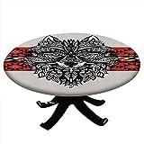 Mantel redondo con bordes elásticos, estilo Tatuaje Totem Estilo...