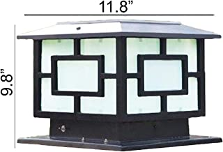 HomeTown Market The 11.8 in X 11.8 in (30CM X 30CM) Solar Powered Very Large Post Cap Lights Or Outdoor Solar Pillar Lights (Square Black)