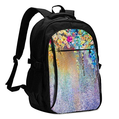 XCNGG Ivy Flowers in Tree Park Travel Laptop Backpack with USB Charging Port Multifunction Work School Bag