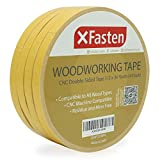 XFasten Double Sided Woodworking Tape 1/2' x 36 Yards (4-Pack) - Double Face Woodworker Turner's Tape for Wood Template, Edge Banding, Routing, Anchoring | Strong Adhesion but Removable & Residue Free