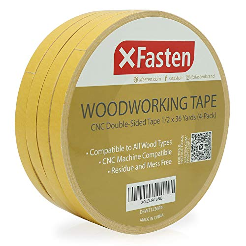 """XFasten Double Sided Woodworking Tape 1/2"""" x 36 Yards (4-Pack) - Double Face Woodworker Turner's Tape for Wood Template, Edge Banding, Routing, Anchoring 