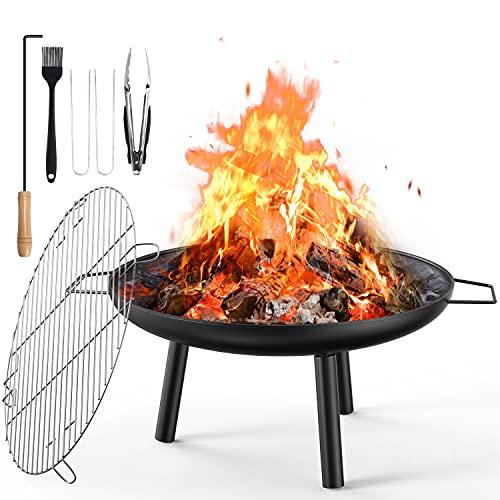 Aiglam Feuerschale, Feuerstelle 60cm Feuerschalen für den Garten mit Grillplatte Für Heizung/BBQ...