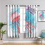 Pcglvie Cortina opaca de medusas, 99 cm de largo, cortina de baño acuático, trópica, fauna silvestre, cortina de baño de 54 x 39 pulgadas de largo