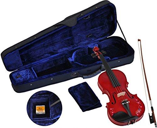 Steinbach 1/2 Geige im SET rot mit Blumendekor handgearbeitet
