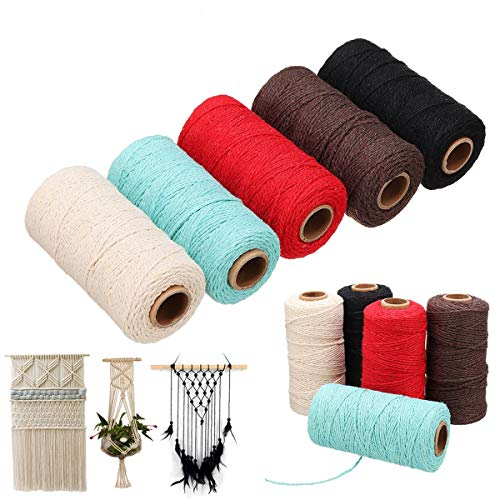 HAPYLY Pack of 5 Macrame Cord Natual Macrame Cotton Cord DIY Craft Cord Spool Twine Rustic String Cotton Rope for Wall Hanging,Plant Hangers,Crafts,Knitting,Decorative Projects 2 mm x100yd (A)