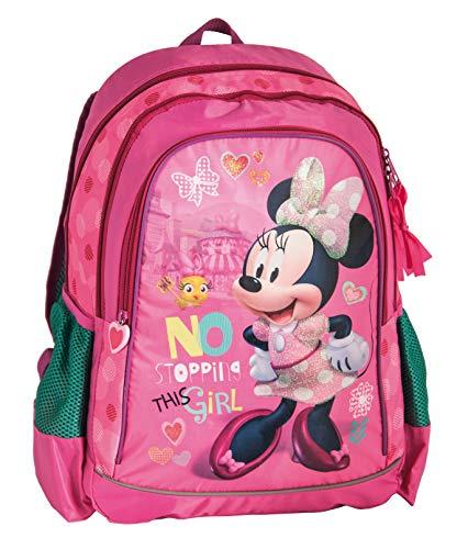 Disney Minnie Maus, Rucksack Kinderrucksack (DML) mit Hauptfächern, Nebenfächern und Frontfach, incl. Getränkenetz, 42 x 30 x 18 cm, pink/grün