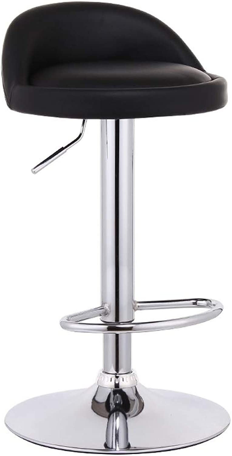 Barstools - Bar Stools Synthetic Leather Swivel Bar Chairs Adjustable Height for Home Kitchen Office 0509A (color   Black)