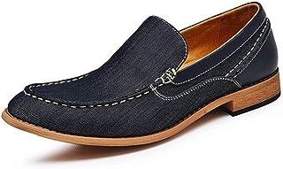 Leather Oxfords for Men Loafers Shoes Block Heel Hand-made Stitching Solid Color Denim Upper Elastic Antislip shoes (Color : Blue, Size : 44 EU)
