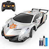 Growsland Remote Control Car RC Cars Xmas Gifts Toys for Kids 1/18 Electric Sport Racing Hobby Rc Crawler Toy Car Model Vehicle for Boys Girls Adults Included Rechargable Batteries (Silver)