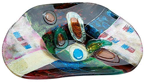 GILDE Glass Art Patchwork 39387 - Ciotola decorativa dipinta a mano con elementi in vetro color ambra, altezza 12,5 cm, larghezza 48 cm, profondità 48 cm