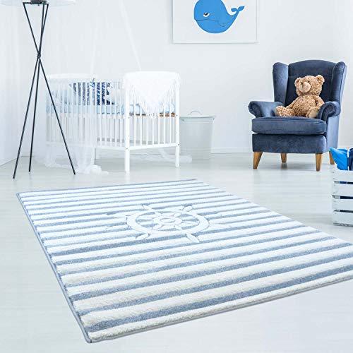 carpet city Kinderteppich Bueno Maritim Schiff Lenkrad Streifen mit Konturenschnitt, Glanzgarn Kinderzimmer; Größe: 140x200 cm