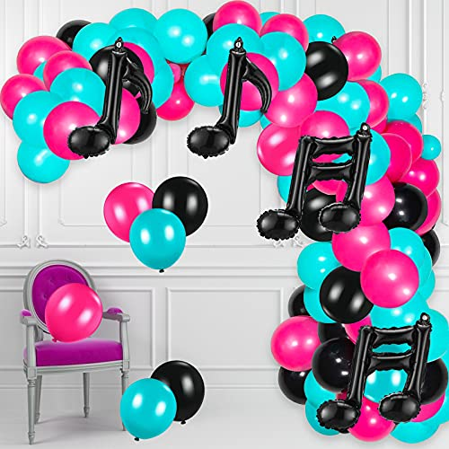 GRESAHOM Musical Balloon Arch Kit Garland, White Rose Red Tiffany Blue Black Latex Balloons Confetti Balloon Musical Note Foil Balloon,Karaoke Party Decoration Use for Birthday Music Themed Party