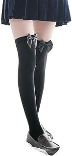 DressLksnf Calcetín Moda de Mujer Medias de Gasa Calcetines con Lazo Bonito Calcetines Atractivos Media Larga de Calcetín Original Color Puro