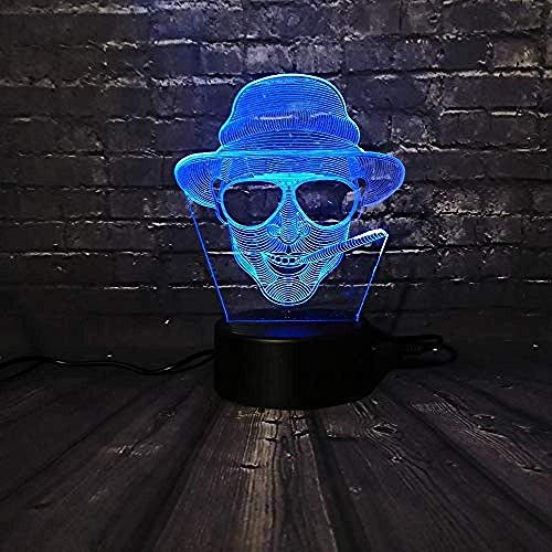 3D Slideshow Cooler man zonnebril Jongen 3D Nachtlicht LED Decor lamp slaapkamer slaapkamer slaaplamp USB Powered F - Bluetooth Audio Base 5 Color- / D - Afstandsbediening 7 ColorCrack White