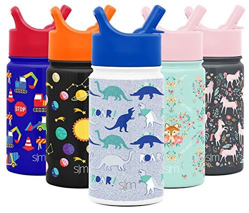 Simple Modern 415mL (14oz) Summit Botella de Agua con Tapa y Pajita - Frasco con Aislamiento Acero Inoxidable Metal Niños Hydro Taza de Viaje Regalos para Hombres Mujeres Patrón: Rugido de Dinosaurio