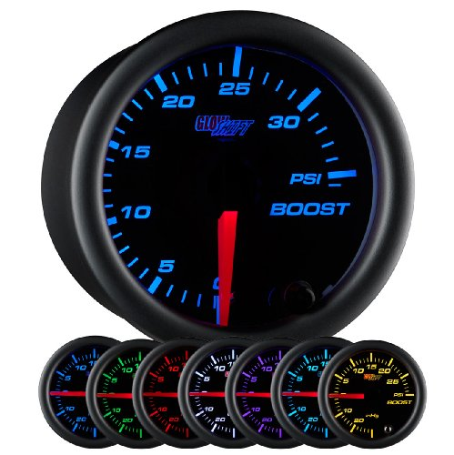 GlowShift Black 7 Color 35 PSI Turbo Boost Gauge Kit - Includes Mechanical Hose & Fittings - Black Dial - Clear Lens - for Car & Truck - 2-1/16' 52mm