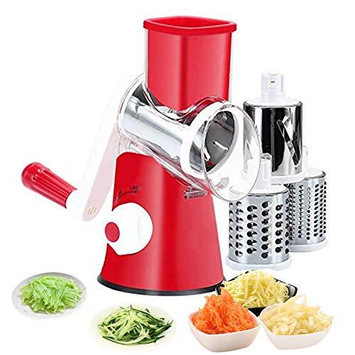 Ralador de queijo rotativo manual, triturador 3 em 1 para pepino, batata, cenoura, queijo, salada de vegetais, vermelho