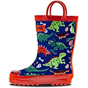 LONECONE Rain Boots with Easy-On Handles in Fun Patterns & Solid Colors for Toddlers and Kids
