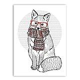 WGEYI Bonito zorro con gafas hipster retro, bufanda con póster de animales, impresión en lienzo, pintura artística para la pared, 40 x 50 cm, sin marco