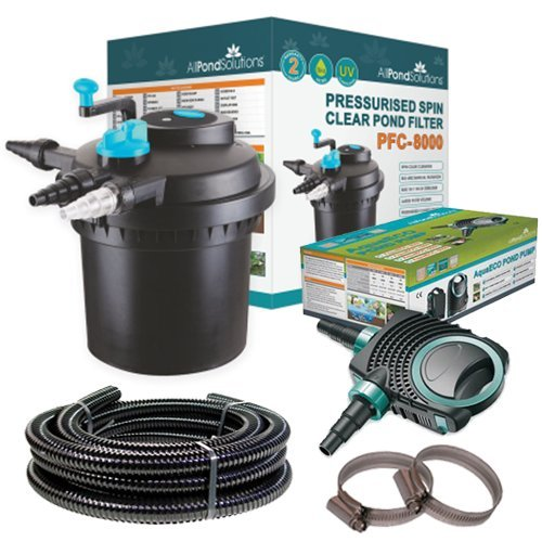 All Pond Solutions PFC-8000 Koi Fish Pond Pressurised Pond Filter All in One/AquaECO-4500 Pump / 11W...