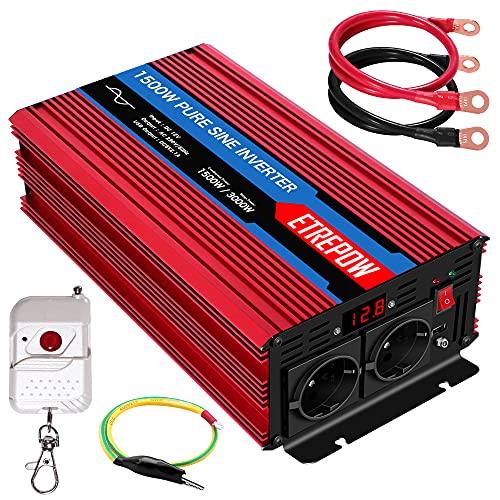 Inversor 12V 220v Onda Pura 1500W /3000W ETREPOW Convertidor de Voltaje con 2 Tomas UE y un USB de 2,1A, Mando a Distancia Inalámbrico, Pantalla Digital y 2 Ventiladores-Auto Transformador