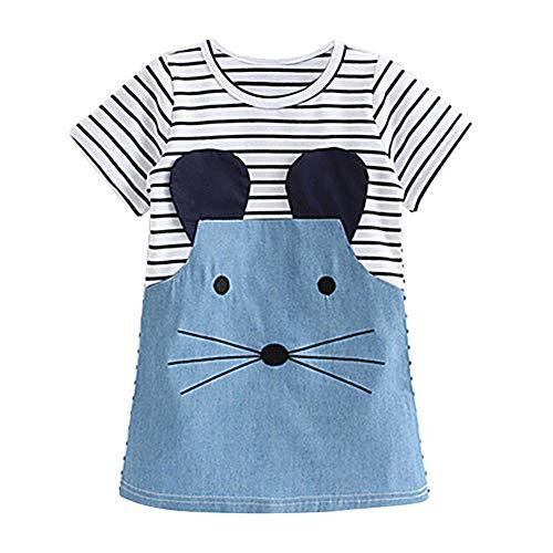 Loveble BabJahr Mädchen Langarm Streifen Einteiler Knie-Lange Cartoon Maus Gedruckt Baumwolle Denim Causal Mini Kleid für B,110(4 Jahre)