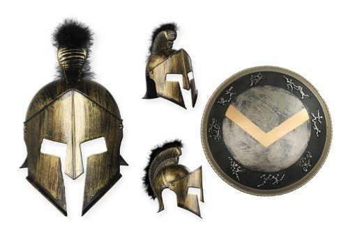 Premium Spartaner-Zubehör für Herren-Kostüm Helm und Schild| für Hochwertiges Karnevals-Kostüm / Faschings-Kostüm / Männerkostüm | Perfektes Sparta Kostümzubehör für Karneval, Fasching, Fastnacht