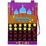 Calendario de Ramadán de Fieltro, Calendario de Cuenta Regresiva Colgante Eid con 30 Estrellas Desmontables para Decoraciones islámicas, Adornos, Suministros para Fiestas (púrpura)