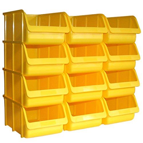12 Profi Lager-Sichtboxen PP Größe 4 in Farbe Gelb