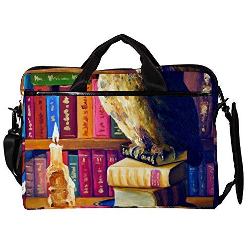 TIZORAX Laptop Messenger Umhängetaschen Eule in einem Alten Bücherregal Computer Sleeve Notebook-Tragetasche 15-15,4 Zoll Handtasche