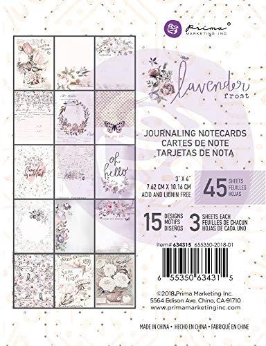 Prima Marketing Lavender Frost Journaling Cards 3X4 45/Pkg-15 Designs/3 Each, Multi