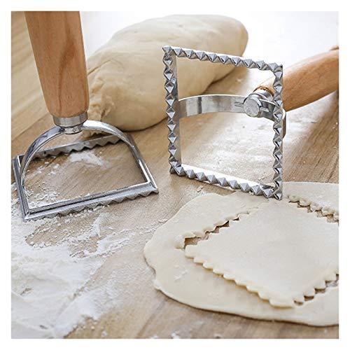 Geschirr Italienisch Runde und quadratische Nudel-Messer-Küche Nudel-Form-Werkzeug Wonton Messer mit Holzgriff Strand (Size : 15.7x7cm)