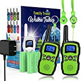 Wishouse Rechargeable Walkie Talkies for Kids with Charger Battery,Family Two Way Radio Long Range,Indoor Game Spy Police St. Patrick's Day Toy, Birthday Party Gift for 3-12 Year Old Girl Boy Green