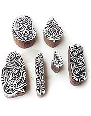 طوابع مكعبات خشبية من Royal Kraft بتصاميم الأوراق الآسيوية وبيزلي (مجموعة من 6)