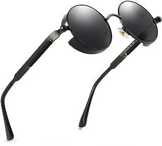 Retro Round Gothic Circle Steampunk Polarized Sunglasses Metal Alloy Polarized Sun glasses for Men Women