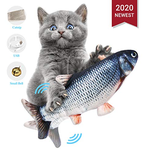ODOLDI Realistic Plush Simulation Electric Doll Fish, Funny Interactive Pets Chew Bite Supplies for Cat/Kitty/Kitten Fish Flop Cat Toy Catnip Toys - Perfect for Biting, Chewing and Kicking (A)