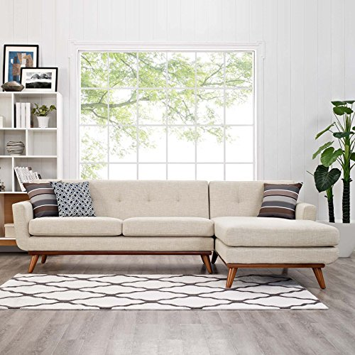 Modway Engage Mid-Century Modern Upholstered Fabric Right-Facing Sectional Sofa in Beige