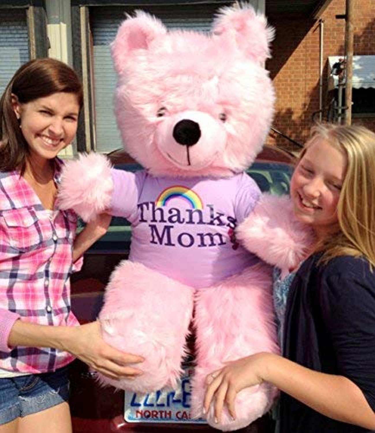 45 Inches Tall Big Pink Teddy Bear for Mom  Wears Thanks Mom Tshirt with Image of a Rainbow  3 and 3 4feettall Giant Teddy Bear  Made in The USA America